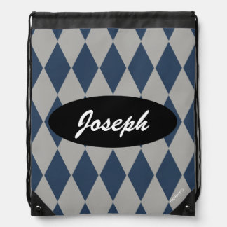 HAMbyWG - Navy Blue Argyle w Any Other Color Drawstring Bag