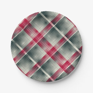 HAMbyWG - Paper Plate - Boy's Plaid 7 Inch Paper Plate