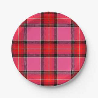 HAMbyWG - Paper Plate - Pink Plaid 7 Inch Paper Plate