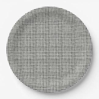 HAMbyWG - Paper Plates - B/W Woven Checkerish 9 Inch Paper Plate