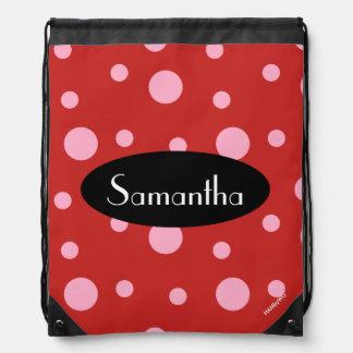 HAMbyWG - Pink Polka Dots Drawstring Bag