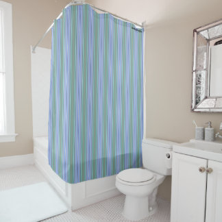 HAMbyWG - Shower Curtain - Pale Mint & Periwinkle