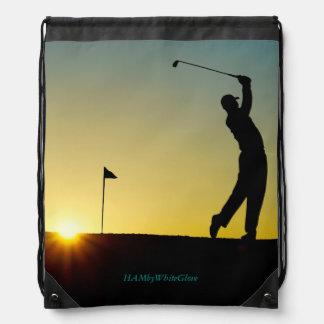 "HAMbyWG  ""Sunset Golfer"" Drawstring Backpack"
