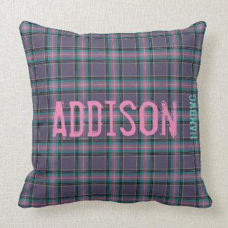 "HAMbyWG Throw Pillow 20"" Lav.Grey/Pink/Aqua Plaid"