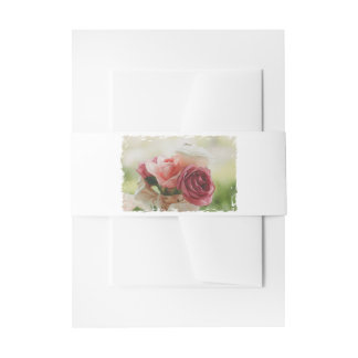 HAMbyWG - Wedding Invite/Envelope Watercolor Roses Invitation Belly Band