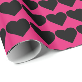 HAMbyWG Wrapping Paper - Hot Pink Black Hearts