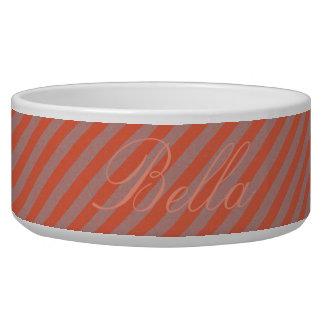 HAMbyWhiteGlove - Dog food Bowl - Orange Diagonal
