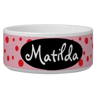 HAMbyWhiteGlove - Dog Food Bowl - Red Polka Dots