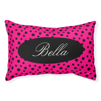 HAMbyWhiteGlove  Pink & Black Polka Dot Dog Bed