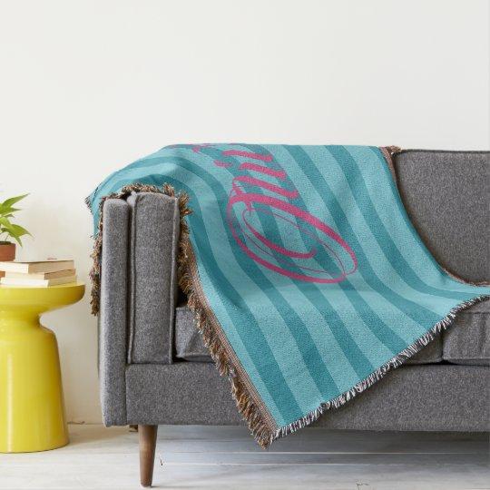 HAMbyWhiteGlove - Throw Blanket - Aqua Stripes