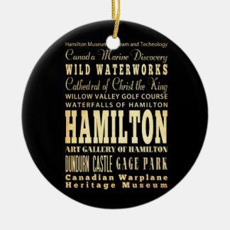 Hamilton City of Ontario Typography Art Ceramic Ornament