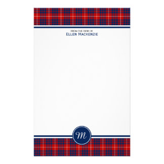 Hamilton Clan Red and Blue Tartan Monogram Stationery