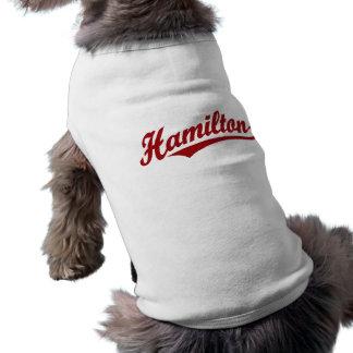 Hamilton script logo in red shirt