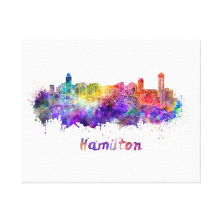 Hamilton skyline in watercolor canvas print
