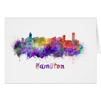 Hamilton skyline in watercolor card