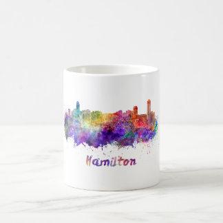 Hamilton skyline in watercolor coffee mug