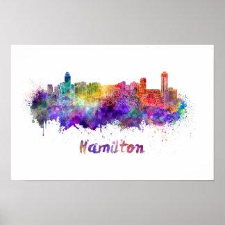 Hamilton skyline in watercolor poster
