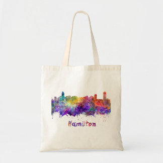 Hamilton skyline in watercolor tote bag