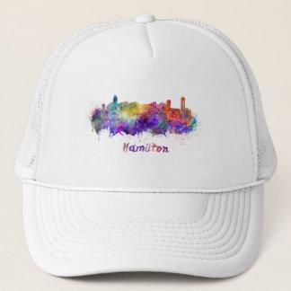 Hamilton skyline in watercolor trucker hat
