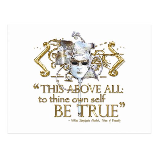 """Hamlet """"own self be true"""" Quote (Gold Version) Post Cards"""