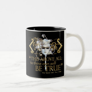 "Hamlet ""own self be true"" Quote (Gold Version) Two-Tone Coffee Mug"