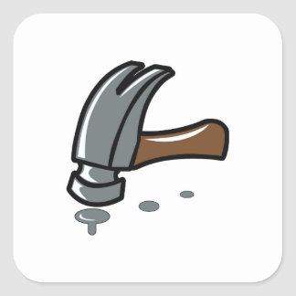 HAMMER AND NAILS SQUARE STICKER