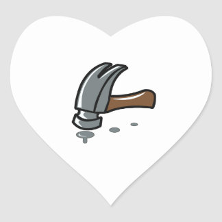 HAMMER AND NAILS HEART STICKER