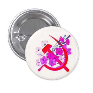 Hammer & Sickle pink w/ flowers 3 Cm Round Badge