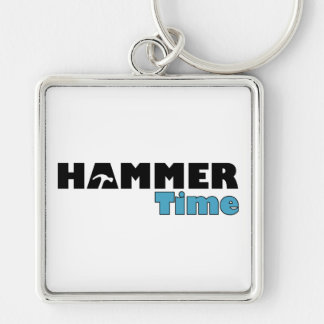 Hammer Time Silver-Colored Square Key Ring