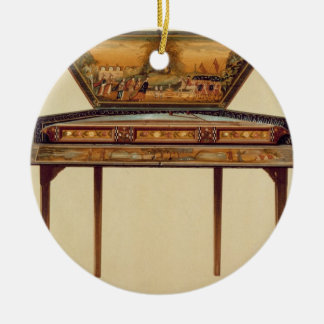 Hammered dulcimer in a painted soundbox, 18th cent ceramic ornament