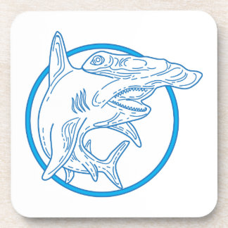 Hammerhead Shark Circle Mono Line Beverage Coasters