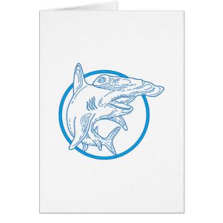 Hammerhead Shark Circle Mono Line Card