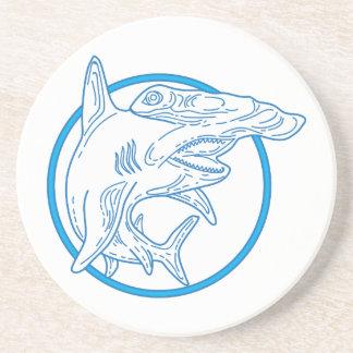 Hammerhead Shark Circle Mono Line Coaster