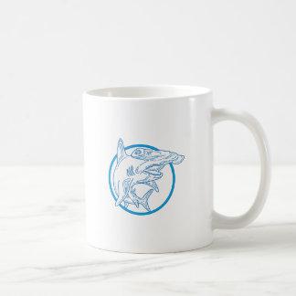 Hammerhead Shark Circle Mono Line Coffee Mug