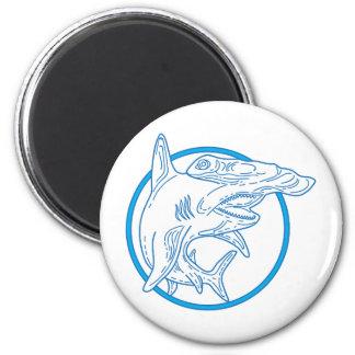 Hammerhead Shark Circle Mono Line Magnet