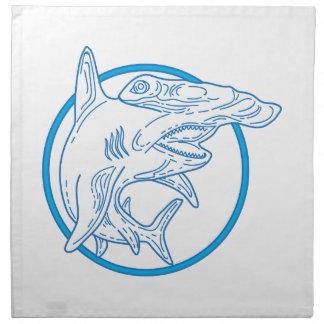 Hammerhead Shark Circle Mono Line Napkin