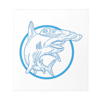 Hammerhead Shark Circle Mono Line Notepad