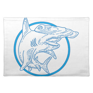 Hammerhead Shark Circle Mono Line Placemat