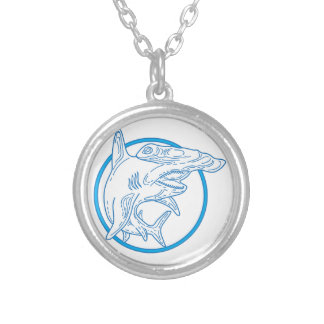 Hammerhead Shark Circle Mono Line Silver Plated Necklace