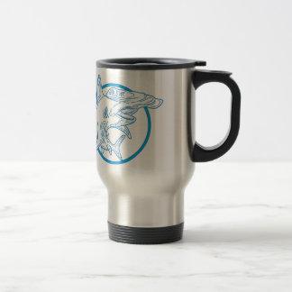 Hammerhead Shark Circle Mono Line Travel Mug