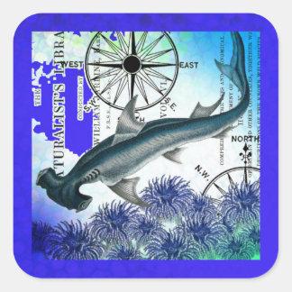 Hammerhead Shark Nautical Collage Underwater Blue Square Sticker