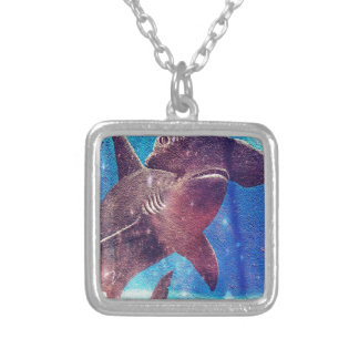 Hammerhead Shark Painting Silver Plated Necklace