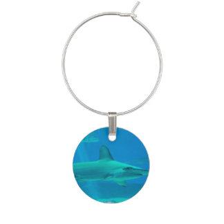 Hammerhead Shark Underwater Wine Glass Charm