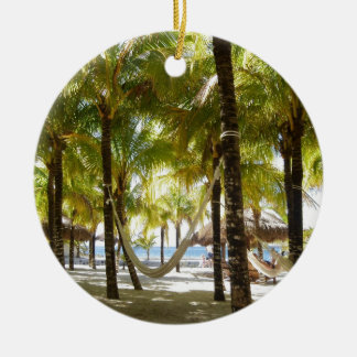 Hammock and Palm Trees Round Ceramic Decoration