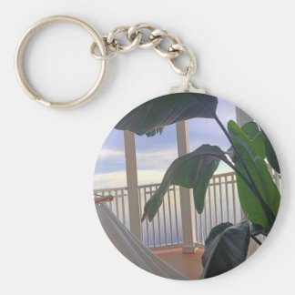 Hammock In Paradise Basic Round Button Key Ring