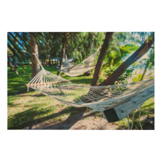 Hammock on the beach, Fiji Wood Prints