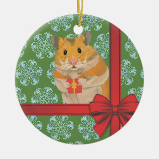 Hammy Christmas Hamster Christmas Ceramic Ornament