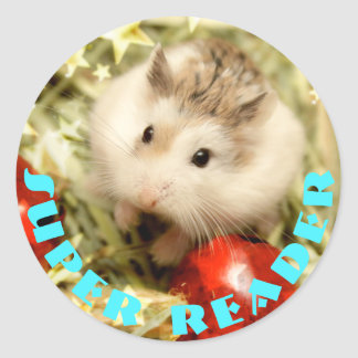 Hammyville - Cute Hamster Super Reader Classic Round Sticker