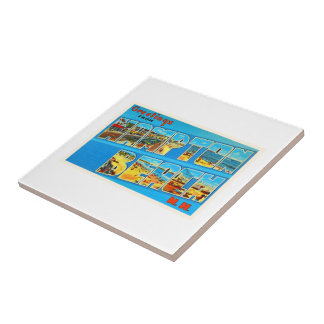 Hampton Beach New Hampshire NH Old Travel Souvenir Tile