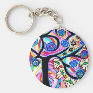 hamsa and tree off life by Sandra Silberzweig Key Ring